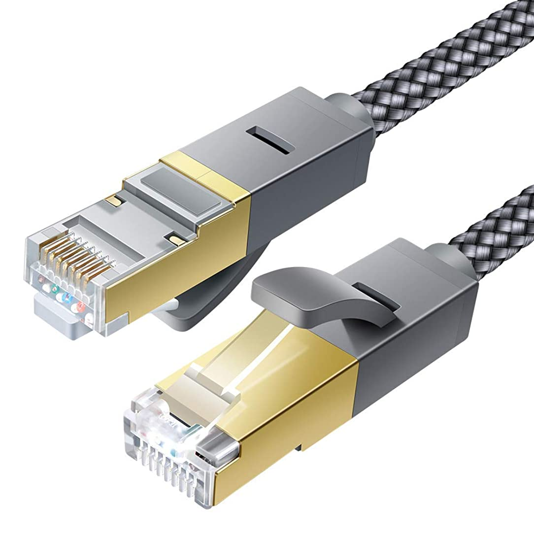 Cat 6 Ethernet Cable, JSAUX 6.6ft Flat Wire LAN Rj45 High Speed Internet Network Cable-Solid Cat6 High Speed Computer Wire with Clips& Snagless RJ45 Connectors?Compatible with Modem, Router, PC -Grey