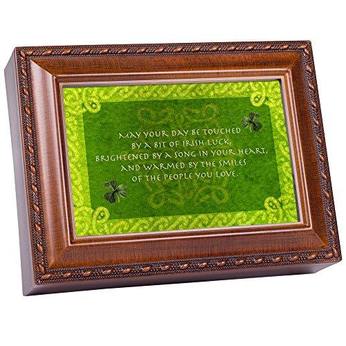 Cottage Garden Days Be Touched Bit of Irish Luck Woodgrain Rope Trim Jewelry Music Box Plays Irish Lullaby