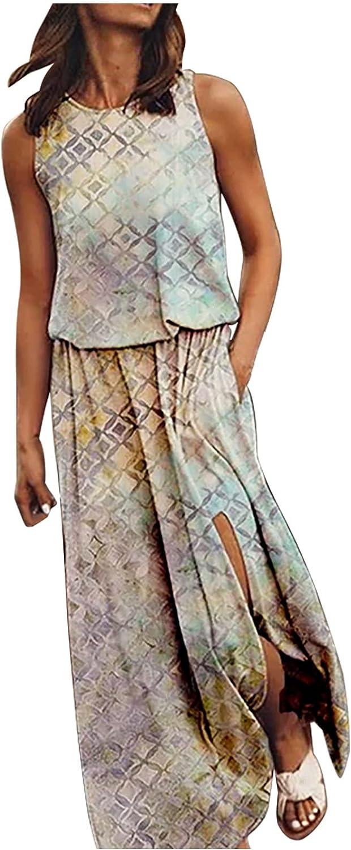 Summer Dresses for Max 71% OFF Women Sleeveless 1 year warranty Sundress L Print Casual Maxi