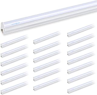 LUMINOSUM T5 LED Tube Light Integrated Single Fixture, 1Foot 5W 450lm, 6000k Cool White, Frosted Cover, Utility Shop Light, Ceiling and Under Cabinet Light, 20-pack