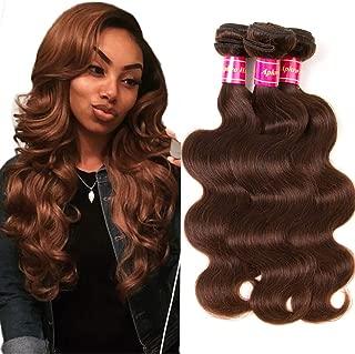 Aphro Hair Brazilian Brown Body Wave Human Hair 3 Bundles #4 Light Brown Remy Hair Bundles 100% Human Hair Weaves(8 10 12)