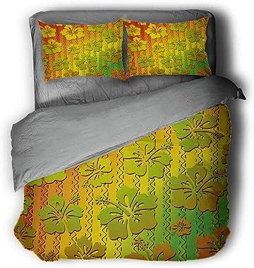 Jamaican Island Flower Three-Piece Solid Color Light Comforter Queen