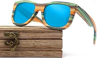 CZA - CZA Hecho a Mano para Hombre de Las Gafas de Sol de bambú del Brazo de Madera con Patas de Madera y Lentes polarizadas Gafas de Madera,Coated Blue
