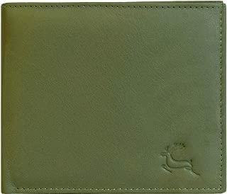 LEADERACHI Men's NDM Leather Bi-Fold Green Wallet