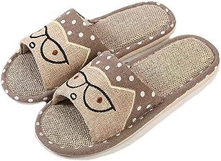 APIKA Linen Couple Home Slippers bedroom flax slipper Japanese Style Child Fun Cartoon Slippers Breathable Non-Slip Bottom...