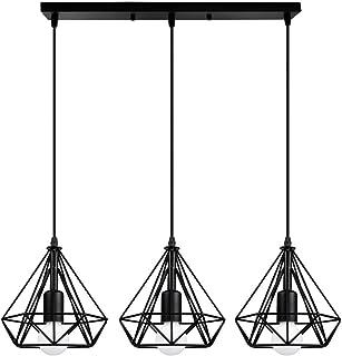 STOEX Lámpara de Techo Colgante Retro Vintage Ø20cm Diamante Design Lámpara Colgante Moderna 3 Cabezas Araña Dormitorio Salón Cocina Comedor Pasillo Oficina, Negro