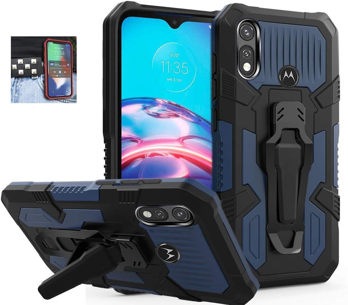 Coverl Moto E Case, Moto E 2020 Case, Military Grade Protective Phone Case with Belt Clip and Kickstand for Moto E7/Moto E 2020 (Dark Blue)