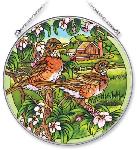 Amia Handpainted Glass Robin Suncatcher, 6-1/2-Inch