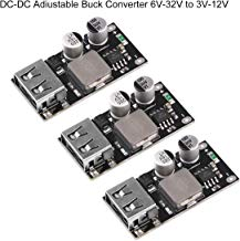 ICQUANZX 3pcs DC-DC Buck Converter 6V-32V (12 24V) Módulo Power Buck a QC3.0 Convertidor de Fuente de alimentación USB de Carga rápida con Carga rápida para IP-Hone Hua-wei FCP