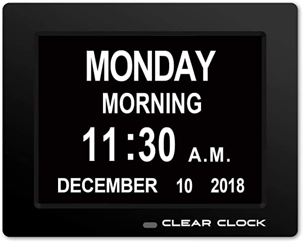 Clear Clock Newest Version Extra Large Digital Memory Loss Calendar Day Clock With Optional Day Cycle Alarm Perfect For Elderly Impaired Vision Dementia Clock Black