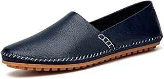 XinQuan Wang Men's Slip on Loafers PU Leather Noble Comfortable Pure Color Fashion Driving Boat Moccasins Casual Shoes (Color : Blue, Size : 8 UK)