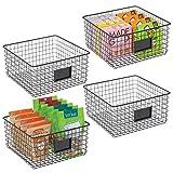mDesign Juego de 4 Cajas Multiusos de Metal – Caja organizadora con Espacio...