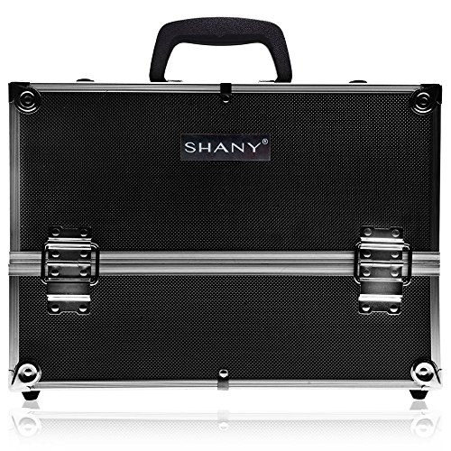 SHANY Essential Pro Makeup Train Case with Shoulder Strap and Locks - Jet black