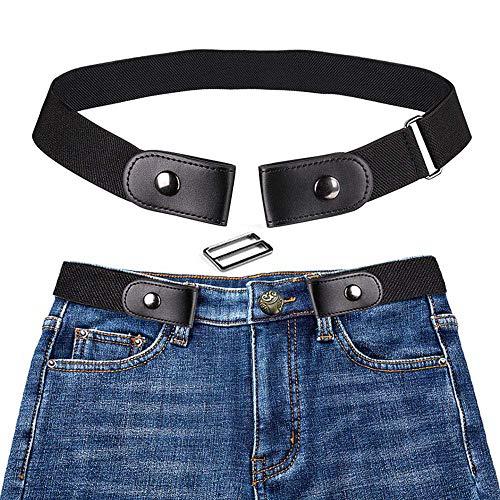 KOBWA Cinturón Elástico Sin Hebilla para Hombre para Mujer, Sin Hebilla Invisible Cinturón para Pantalones Vaqueros Pantalones Vestidos (Negro)