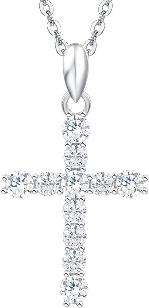 Carleen collana con pendente croce per donna in argento 925 con zircone cubico FC 486