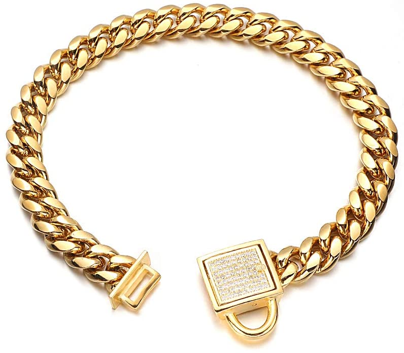 Aiyidi Gold Dog Chain Collar 10mm Wide Cuban Link Puppy Collar Stainless Steel with CZ Diamond Lock Bling Choke Collar for Dogs