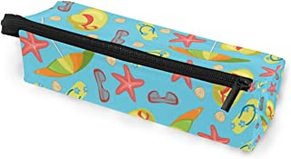 MASSIKOA Summer Slippers Umbrella Glasses Hats Starfish Pencil Bag Makeup Pouch Durable Pen Stationary Organizer with Zipp...