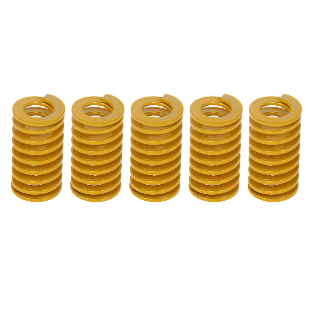 MroMax 12mm OD 40mm Long Spiral Stamping Light Load Compression Mould Die Spring Yellow 10PCS