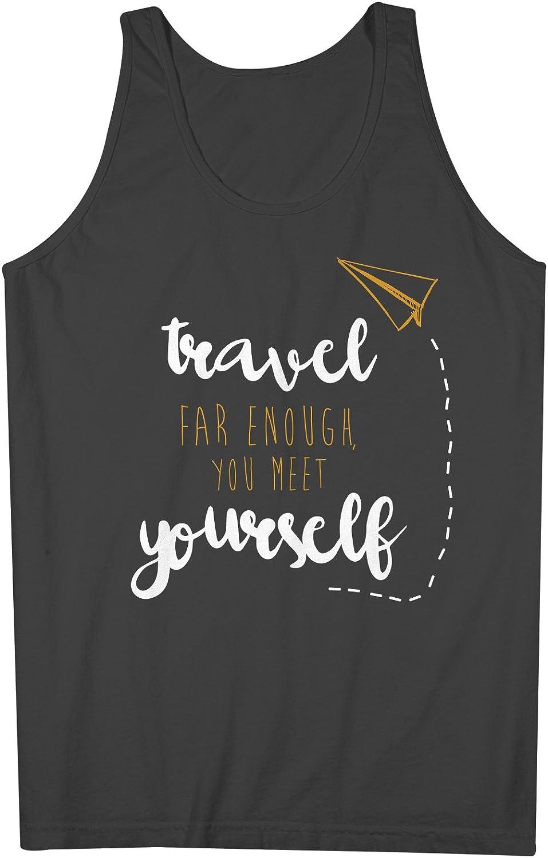 Travel Far Enough You Meet Yourself Inspirational 男性用 Tank Top Sleeveless Shirt