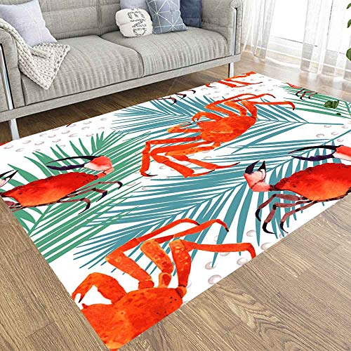 Soft Area Rugs, Musesh Area Rug Kids Area Rugs Soft Area Rug Area Rug Size 3X5 Carpet Decoration Living Room Office Bedroom Dorm Crab Watercolor Pattern Marine Palm Leaf Tropical Background