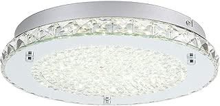 LED Ceiling Light,Auffel Minimalist Modern 11-Inch Surface Flush Mount Light Fixture Glass 4000K Daylight White Lamp 1980LM K9 Crystal Chandelier Lighting for Kitchen,Bathroom,Bedroom,Hallway