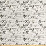 Ambesonne Airplane Fabric by The Yard, Old Fashioned Transportation Hand Drawn Style Vintage Pattern, Decorative Fabric for Upholstery and Home Accents, 1 Yard, Olive Green