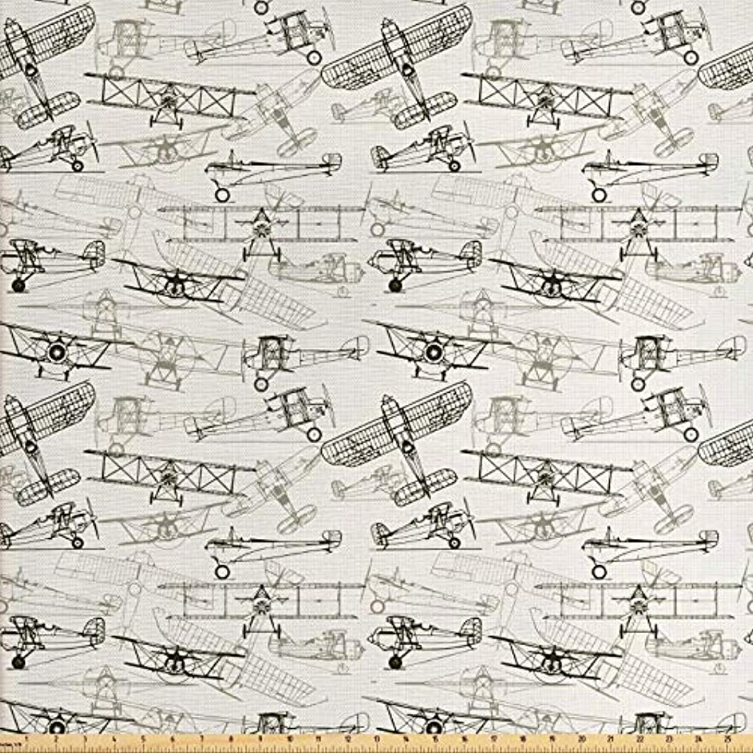 Ambesonne Airplane Fabric by The Yard, Old Fashioned Airplanes in Hand Drawn Style Vintage Transportation Pattern, Decorative Fabric for Upholstery and Home Accents, 1 Yard, Olive Green Tan