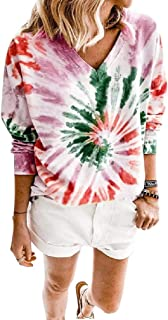 Doufine Women V-Neck Loose All Over Tie-Dye Long Sleeve T-Shirts Tunic Tops