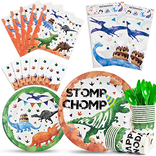 Watercolor Dinosaur PartyTableware Set - Dinosaur Party Supplies for Kids Boys Birthday Includes Disposable Dinner Dessert Plates Napkins Tablecloth Cups Cutlery Bag Utensils Serves 16 Guests 130 PCS