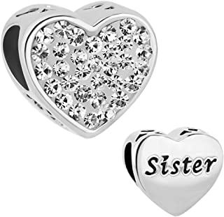 Sister Charms Heart Love Simulated Birthstone Beads for Charms Bracelet