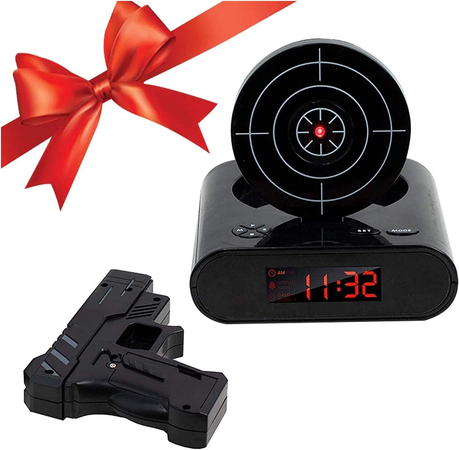 TXXM Revestimiento de Alarma de Destino de la Novedad, Reloj de Disparo de Infrarrojos de Infrarrojos de Infrarrojos con Pistola Ajustable para niños y Adultos, Regalo de Juguete