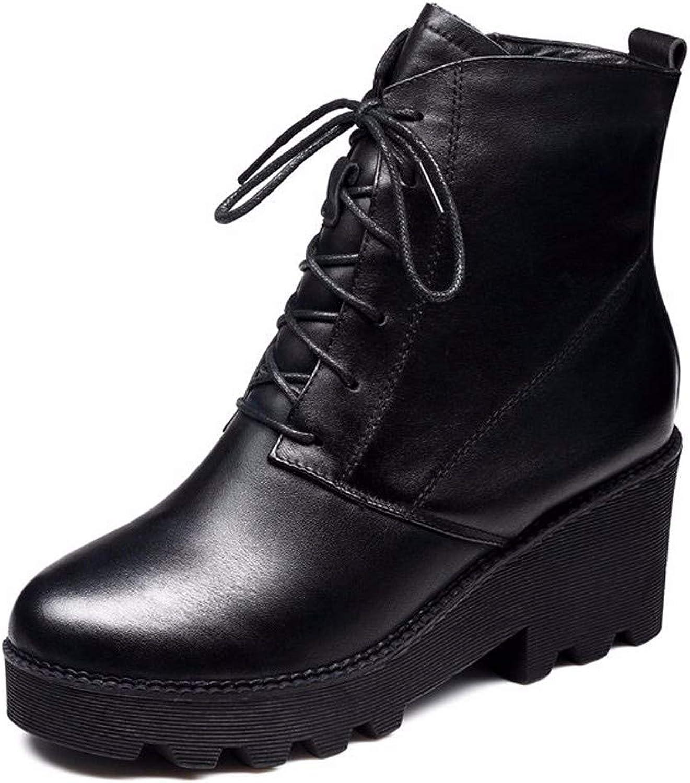 LBTSQ Damenschuhe Retro Martin Stiefel Heel 6 cm Steigung Bei Flachen Boden Samt Dicken Hintern Innere Gre Kurze Stiefel