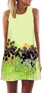 Clearance! Ruhiku GW Womens Dress Summer O-Neck Boho Sleeveless Floral Printed Beach Mini Dress Casual T-Shirt Short Dress