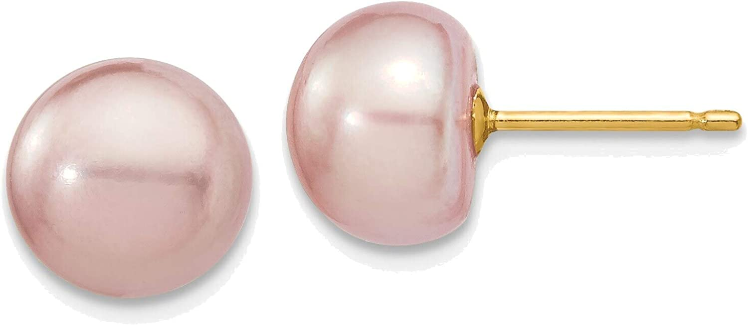 8-9mm Purple Button Freshwater Cultured Pearl Stud Post Earrings in 14K Yellow Gold