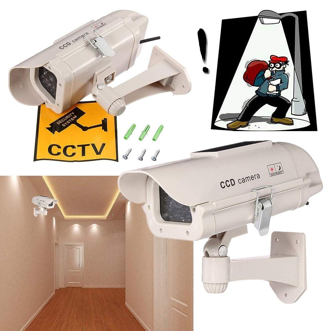 オリエンテーション嵐できた屋外シミュレーションダミーカメラCCTVホーム監視セキュリティミニカメラ点滅LEDライト偽カメラソーラーパワー