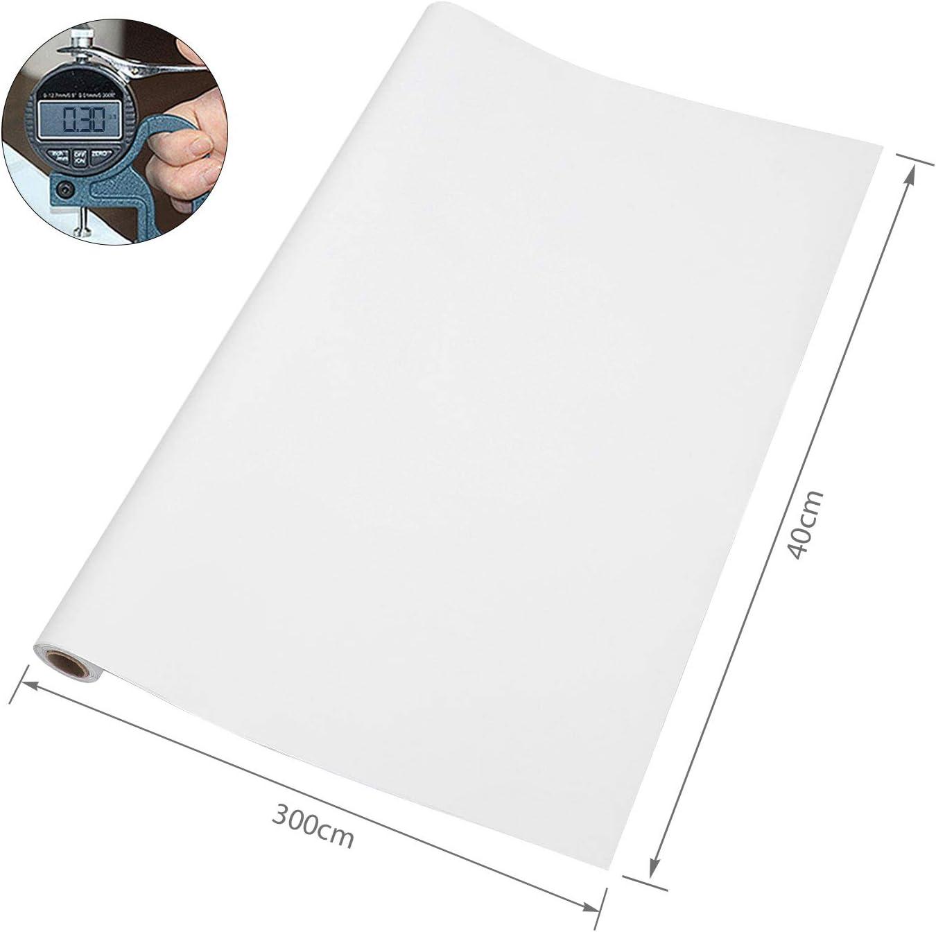 Imperm/éable aux rayures Pour mur//meubles//cuisine Uni Film autocollant pour meubles Pour armoire de cuisine KINLO Papier Adhesif pour Meuble peint blanc mat 40 x 300 cm En PVC