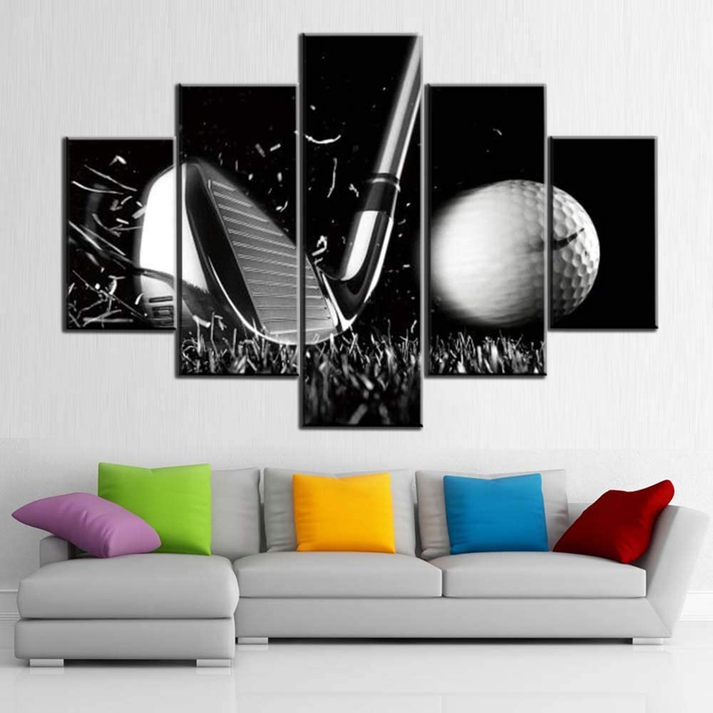 OFFicial mail order Black and White Paintings Direct stock discount Golf 5 Ball Pictures Panel Canvas