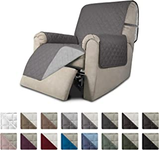 Easy-Going Recliner Sofa Slipcover Reversible Sofa Cover Furniture Protector Couch Shield Water Resistant Elastic Straps PetsKidsChildrenDogCat(Recliner,Gray/Light Gray)