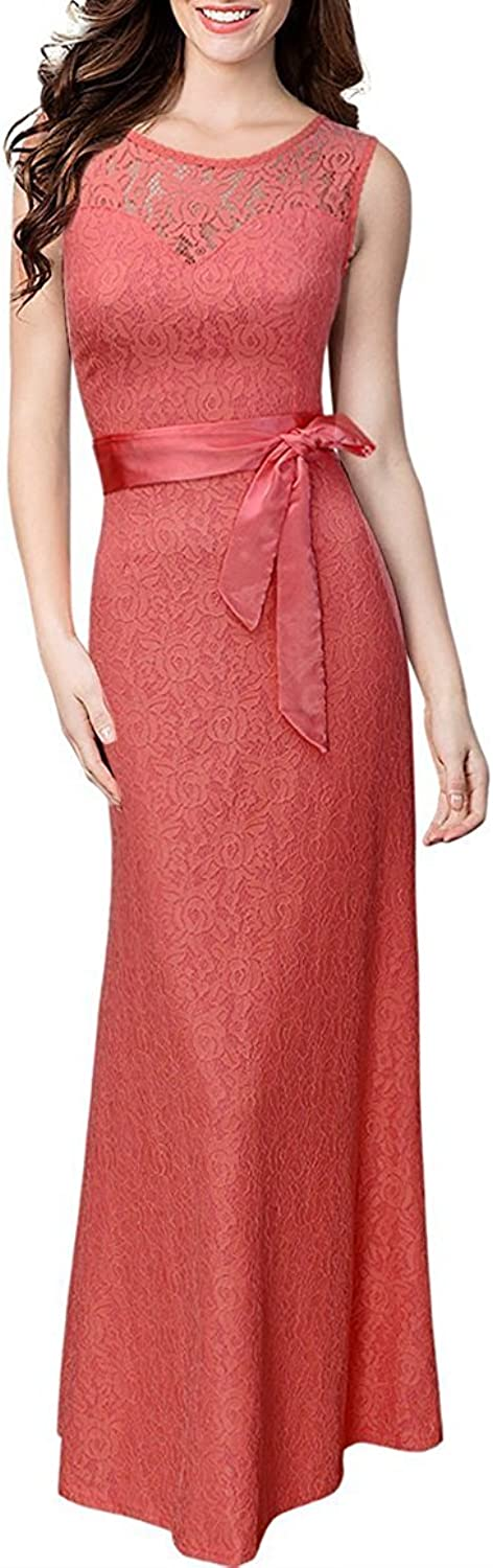 Ourfashion Womens Vintage Floral Lace Long Evening Dresses Bridesmaid Maxi Dress with Belt
