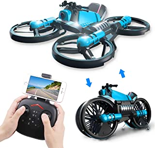 2 in 1 Foldable RC Drone with Camera and Motorcycle Wi-Fi Live Video One Key Return Altitude Hold Headless Mode Toy Gift for Kids Adults