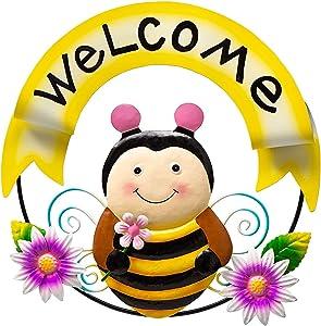 Fawgold 11 Inch Metal Honeybee Welcome Sign Wall Decor Fence Decorations, Hanging for Indoor Outdoor Livingroom Bedroom Garden Yard Patio