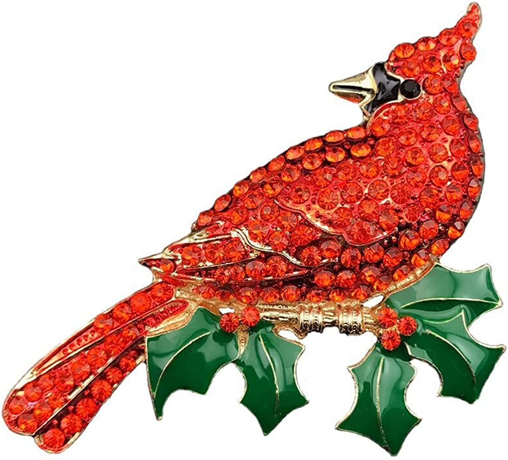 Large Gold Tone Northern Cardinal Brooch With Red Color Crystal Rhinestone Bird Brooches Pins Christmas Bird Brooch