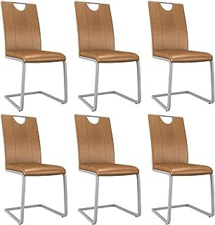 vidaXL 6X Sillas de Comedor Asiento Muebles de Cocina Escritorio Interior Patio Hogar de Salón con Respaldo Cuero Sintético Marrón