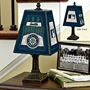 Made of hand-painted art glass Team logos on two sides 14.5Tall by 7 3/8 wide Takes a 40 watt G16.5 style bulb. Bulb not included