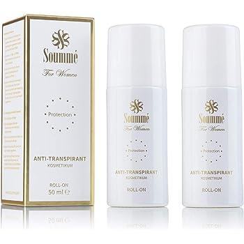 Soummé Antitranspirant Protection Roll-On for Women Kosmetikum [2 x 50 ml]   Schützt vor Schweiß- und Geruchsbildung, verschiedene Pflegestoffe