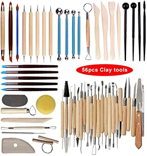 56PCS Complete Pottery Tools, Ceramic Clay Sculpting Tools Set, Wooden Clay Sculpture Tools for Ceramic Shaping, Modeling,...