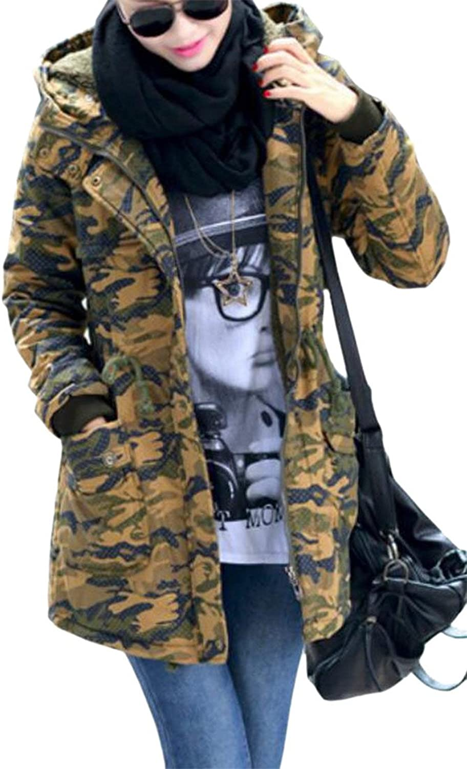 GAGA Womens Winter Faux Fur Collar Hoodie Camo Trench Outerwear Coats Parkas