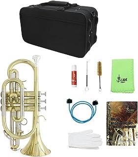 YIJU Exquisite Golden Bb Cornet Brass Instrument Set for Students Beginners