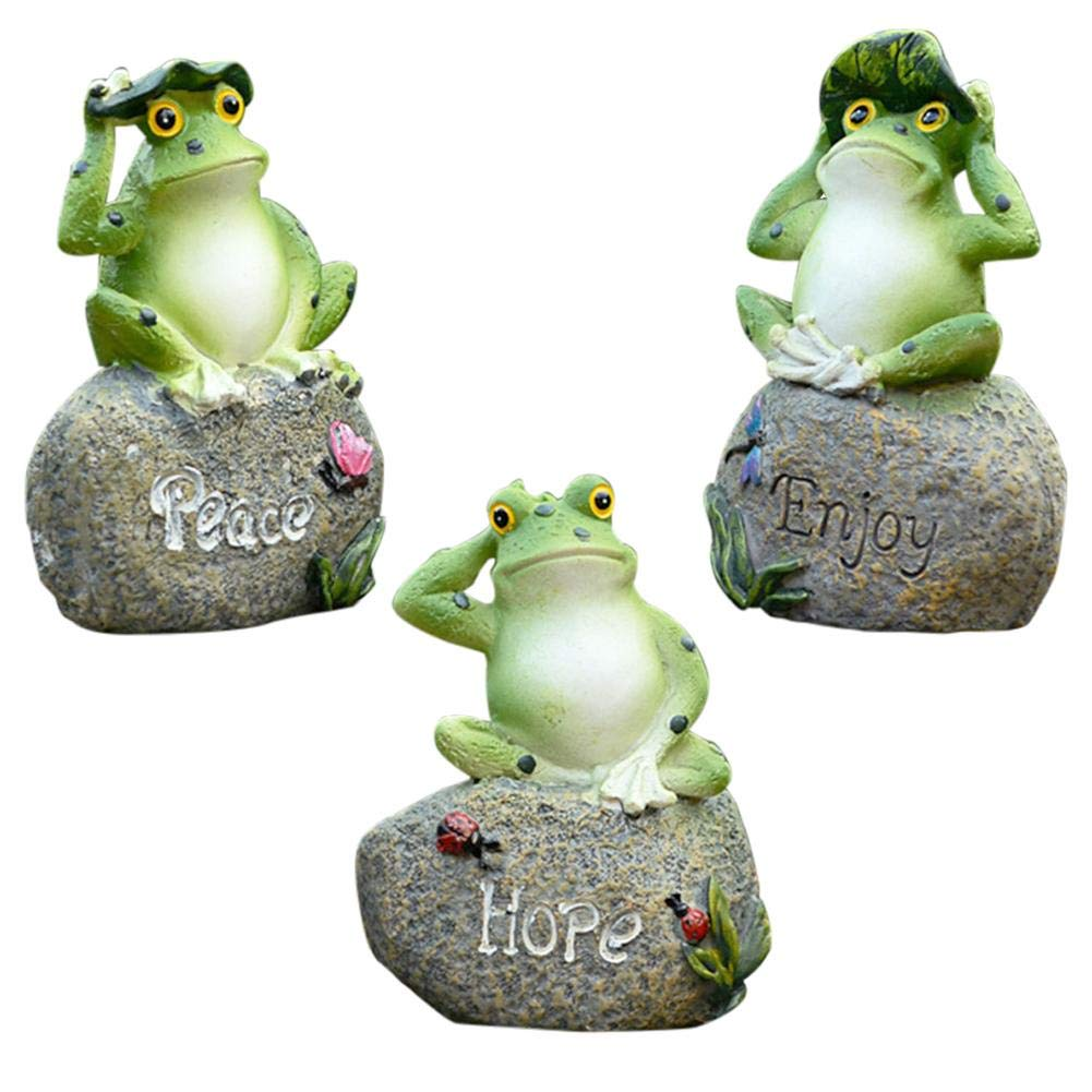 Frog Shaped Garden Decoration Statue Outdoor Terrace Ornament Garden Art  Decor - 9PCS