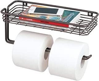mDesign Toilet Tissue Paper Holder and Multi-Purpose Shelf - Wall Mount Storage Organizer for Bathroom, Holds 2 Mega Rolls - Durable Metal Wire Design - Bronze